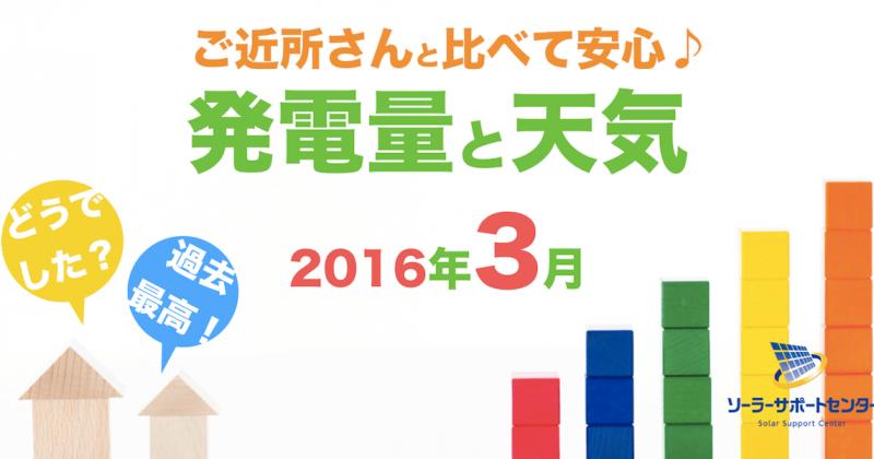 岐阜三重愛知2016年3月の発電量