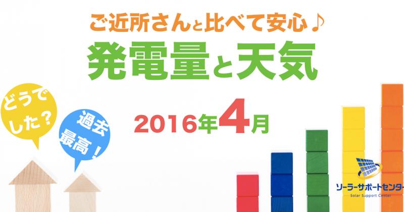 岐阜三重愛知2016年4月の発電量
