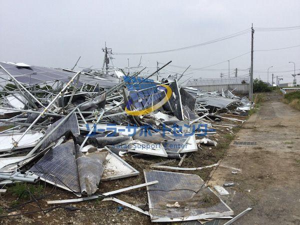 台風により倒壊した太陽光発電所