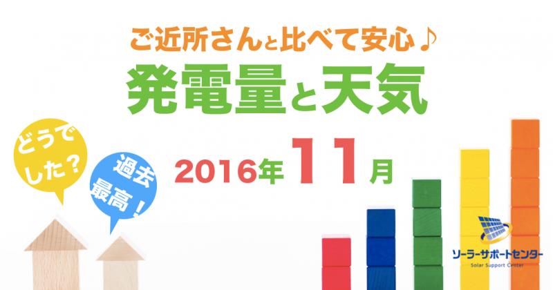 岐阜三重愛知2016年11月の発電量