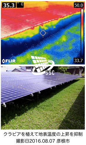 サーモグラフィーで撮影した太陽光発電所の表面温度画像