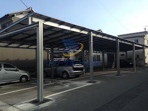 車庫に設置した太陽光発電 大垣市