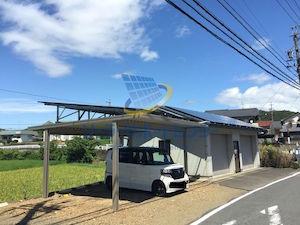 車庫に設置した太陽光発電 関市