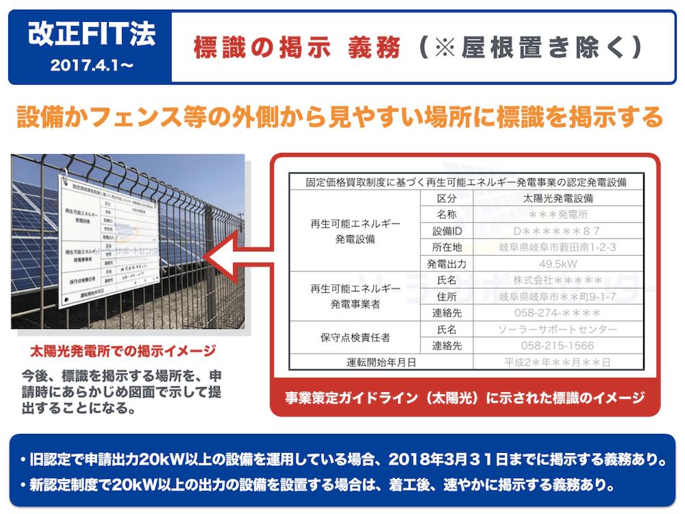 改正FIT法で太陽光発電に設置義務のできた標識の内容