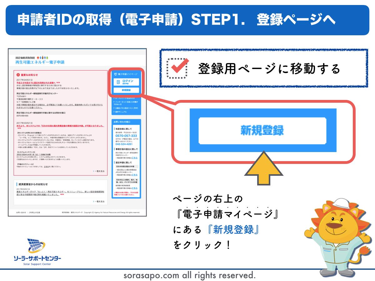 電子申請システムの新規登録をクリック