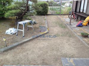 庭のクラピア植栽前の写真