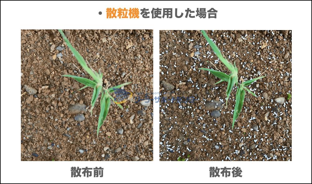 散粒機で除草剤を散布した場合