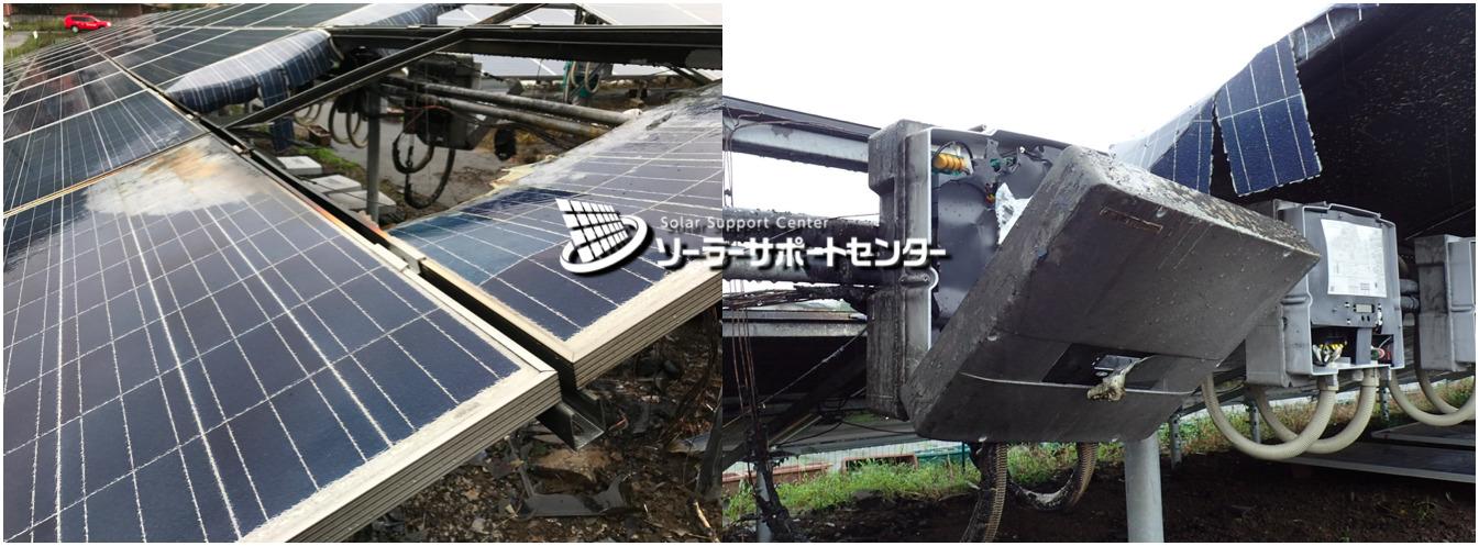 施工ミスで燃えた太陽光パネルとパワーコンディショナの写真