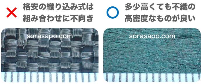 砂利下に敷く防草シートの繊維を拡大した比較画像