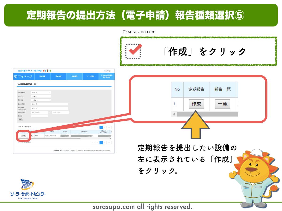定期報告の提出方法共通ステップ|設備IDを確認して作成をクリック
